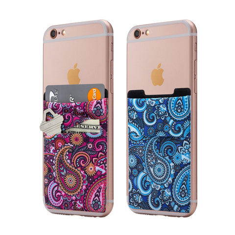 (Two) Stretchy Cell Phone Stick On Wallet Card Holder Phone Pocket For iPhone, Android and all smartphones. (Paisley)
