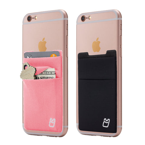 (Two) Stretchy Cell Phone Stick on Wallet Card Holder Phone Pocket for iPhone, Android and all Smartphones. (Pink&Black)