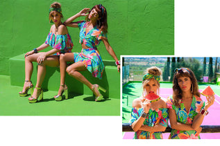collage of images showing two Dancing Leopard models wearing floral two pieces