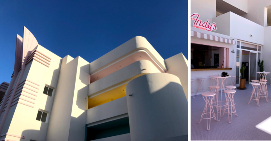 collage of hotel images in Ibiza for SS19 shoot