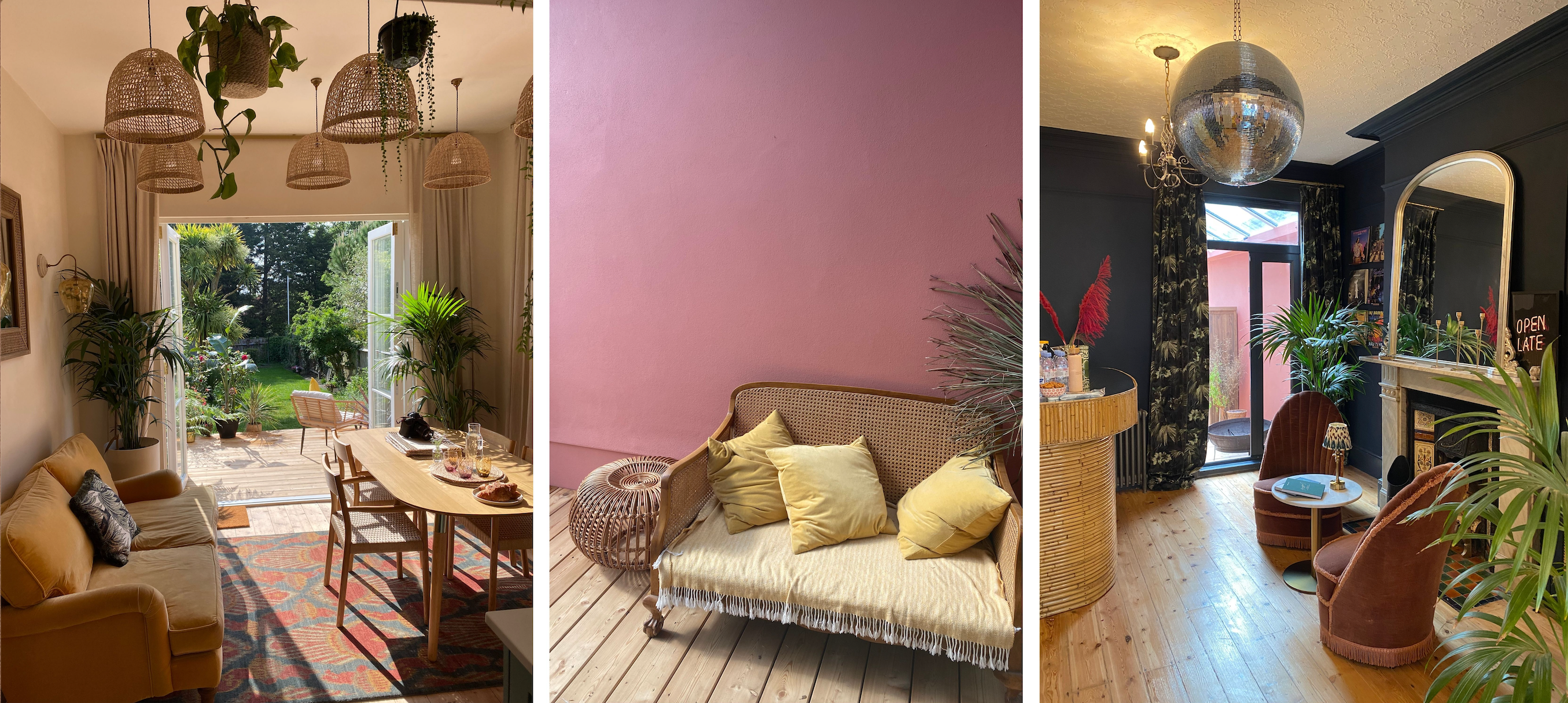 collage of photos showing the interior at The Palm