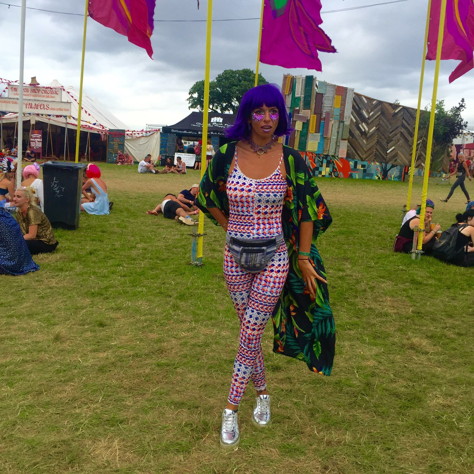 lady wearing Dancing Leopard floral kimono with purple hair and face art at Secret Garden Party