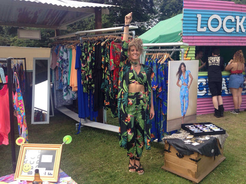 lady posing in front of Dancing Leopard shop at Secret Garden Party