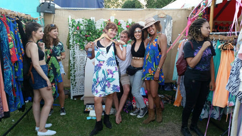 group of friends at Dancing Leopard shop at Lovebox