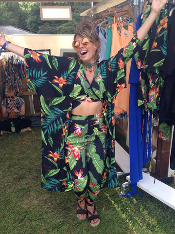 lady celebrating wearing Dancing Leopard two piece at Lovebox