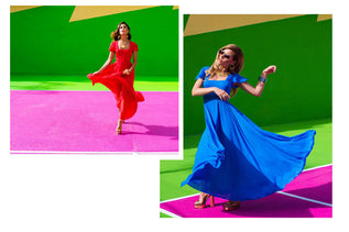 collage of images showing Dancing Leopard models in blue and red dresses