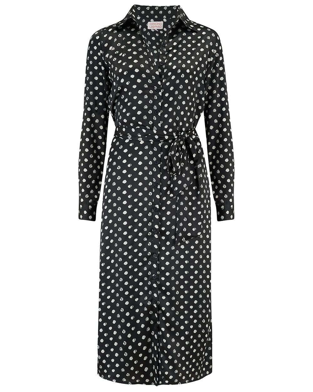 Dancing Leopard Hadiba Midi Dress In Black Dotty Print on white background
