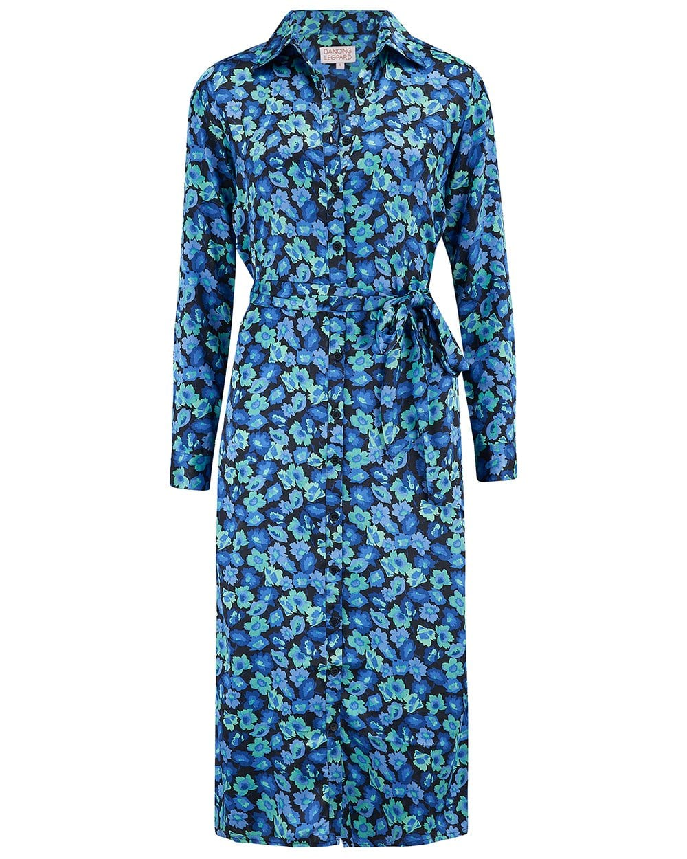 Dancing Leopard Hadiba Midi Shirt Dress In Blue Floral Print on white background