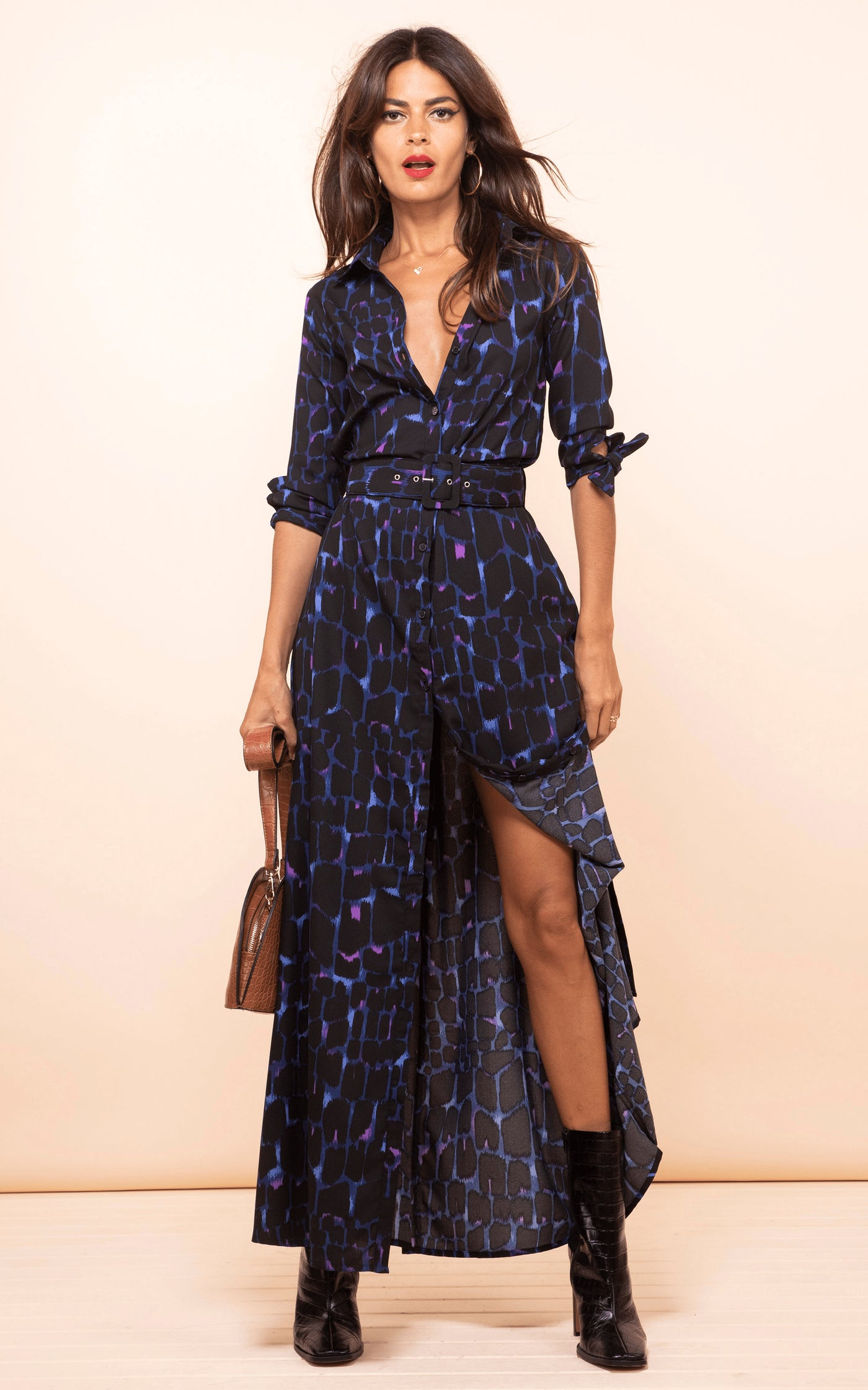 Forward-facing model wears Dove Dress in Blue Alligator print by Dancing Leopard