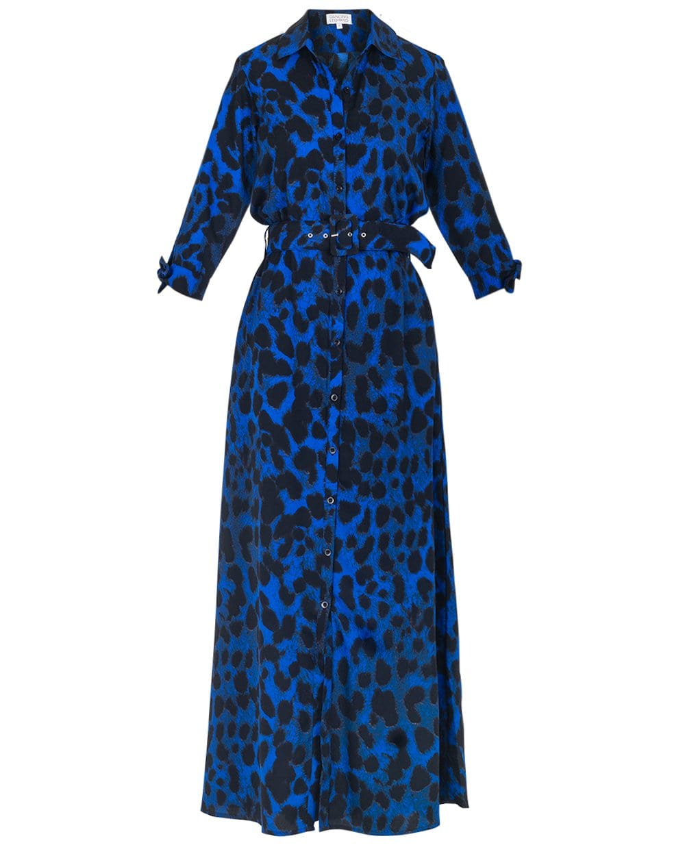 Dove Dress in Blue Leopard Print on white background