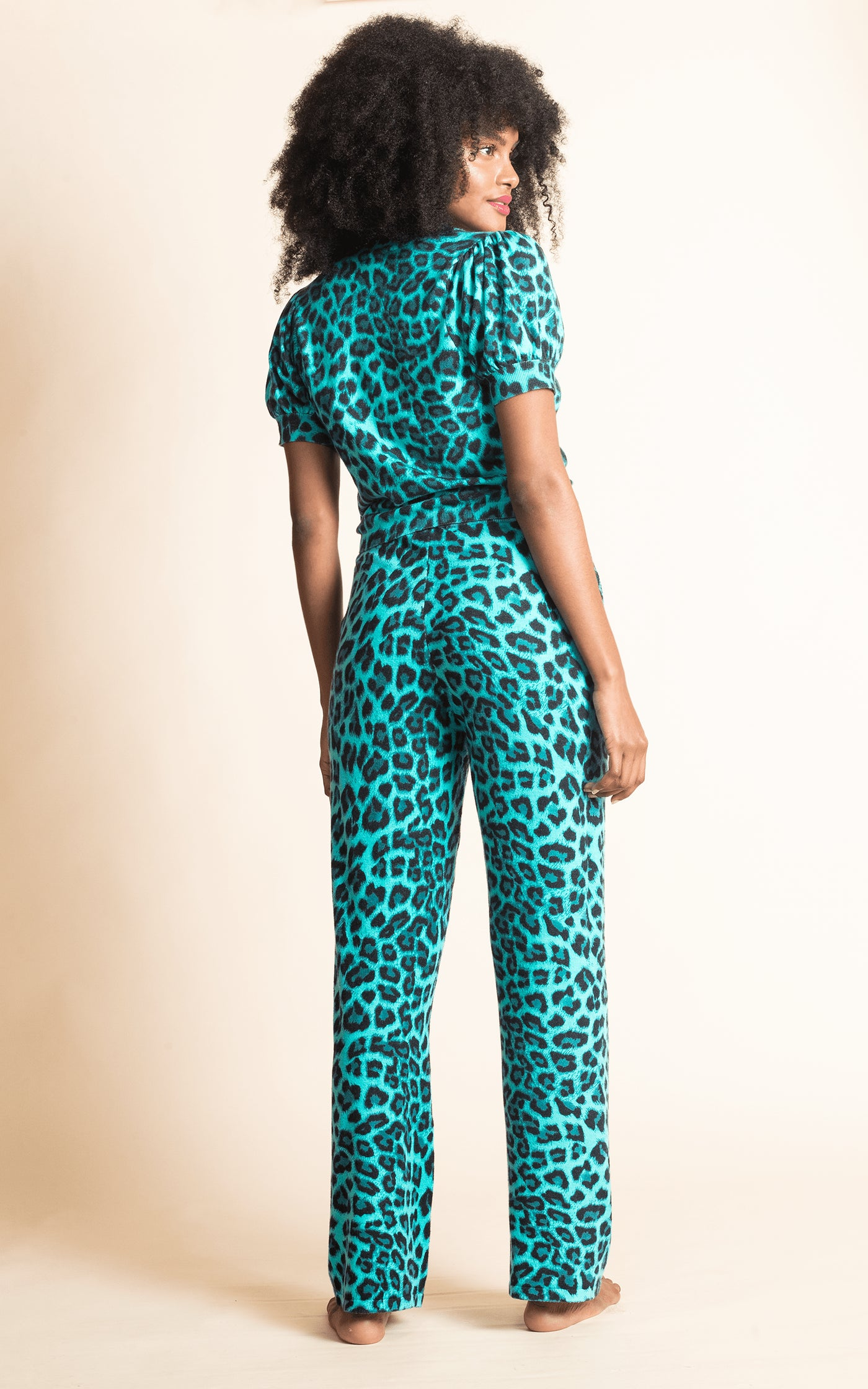 Oslo Knitted Trouser in Green Leopard