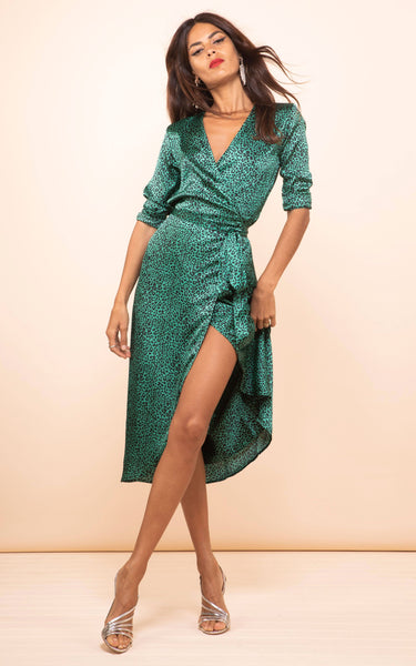 various styles size 40 for whole family Yondal Dress In Small Green Leopard Print – DancingLeopard