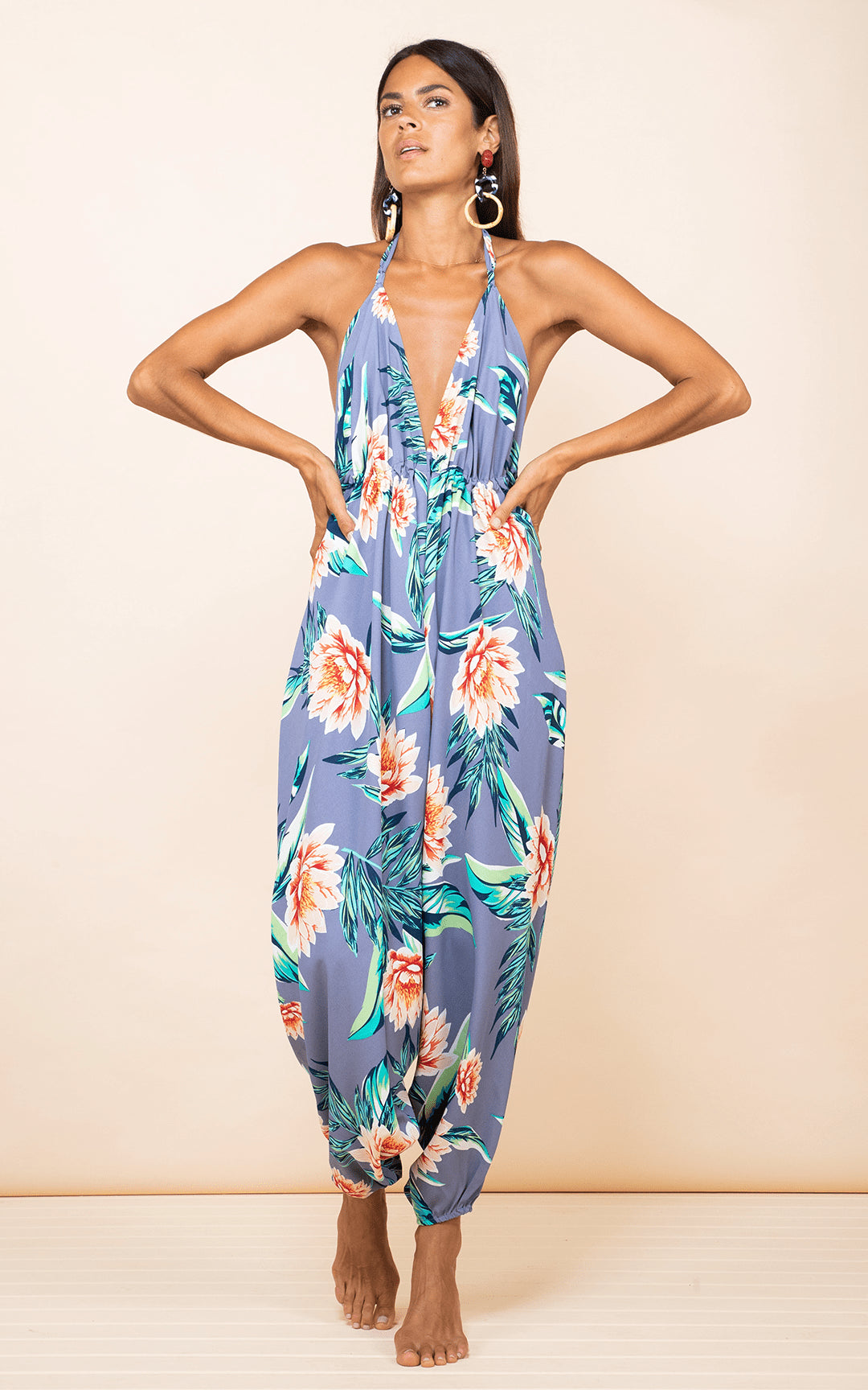 Genie Jumpsuit in Grey Lotus Tropical