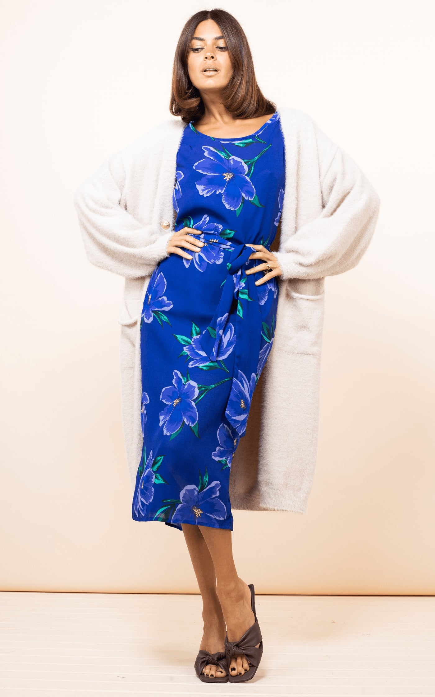 Sabina Midi Dress In Blue On Blue Tulip