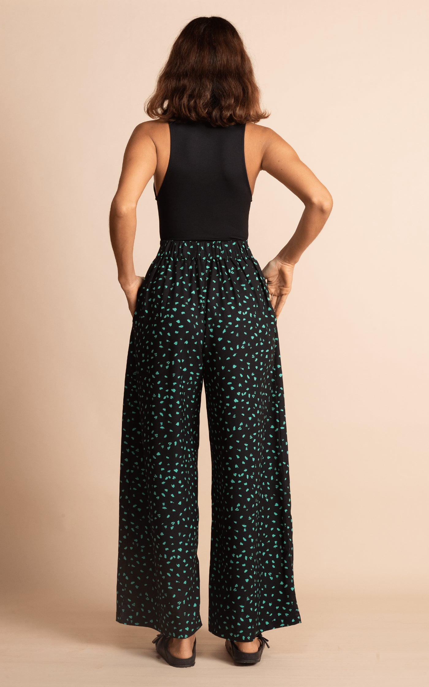Joey Palazzo Trousers in Abstract Green on Black