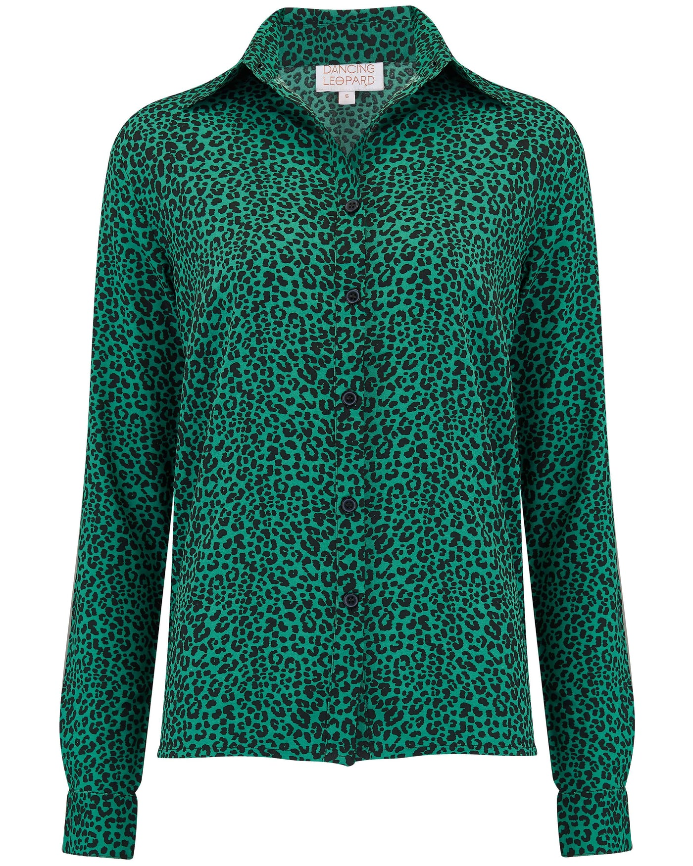 Front view of Dancing Leopard San Diego Shirt in green leopard print on white background