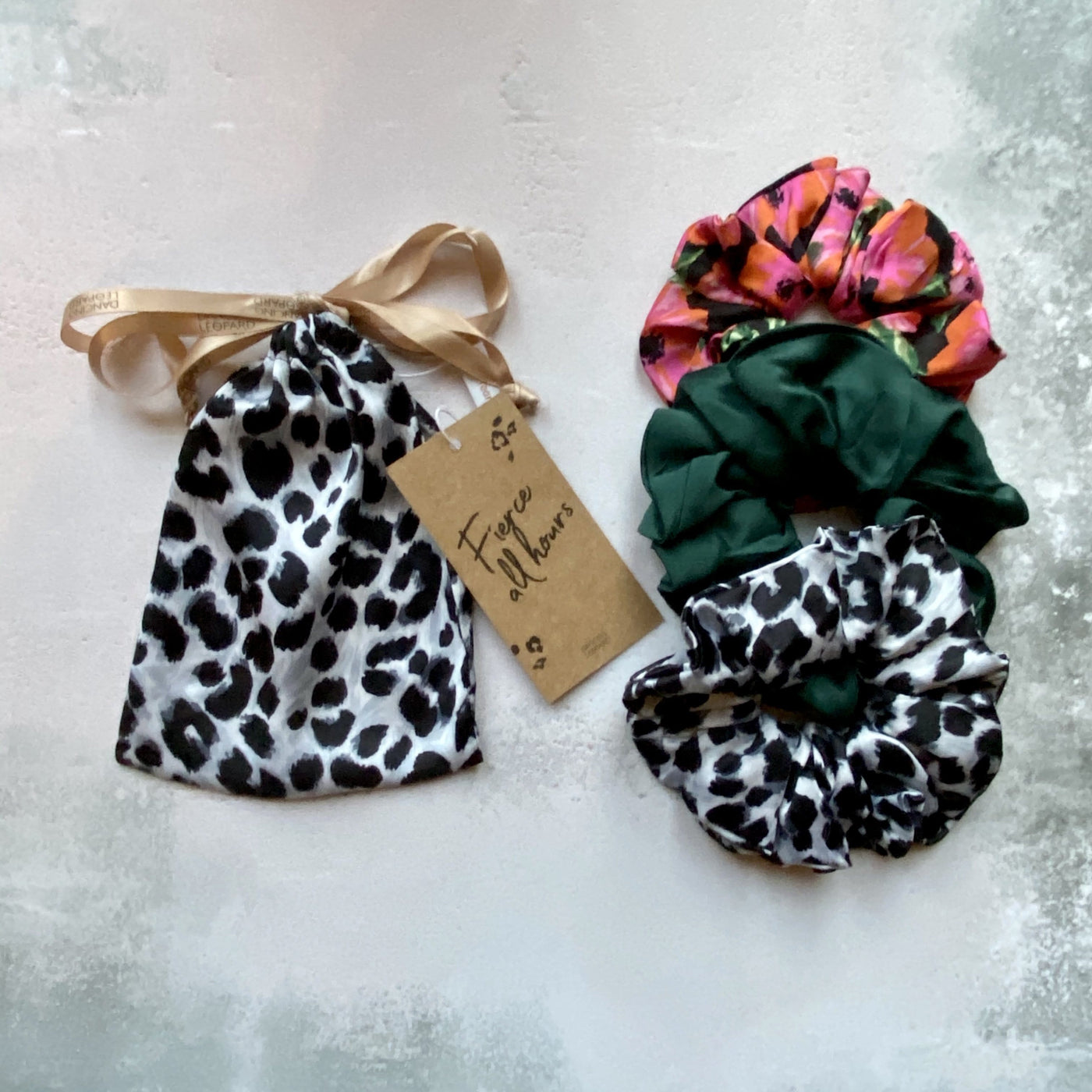 Charity Scrunchie in Mono Leopard Mix
