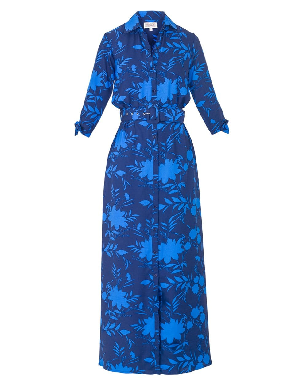 Dancing Leopard Dove Dress in Blue Silhouette Ground