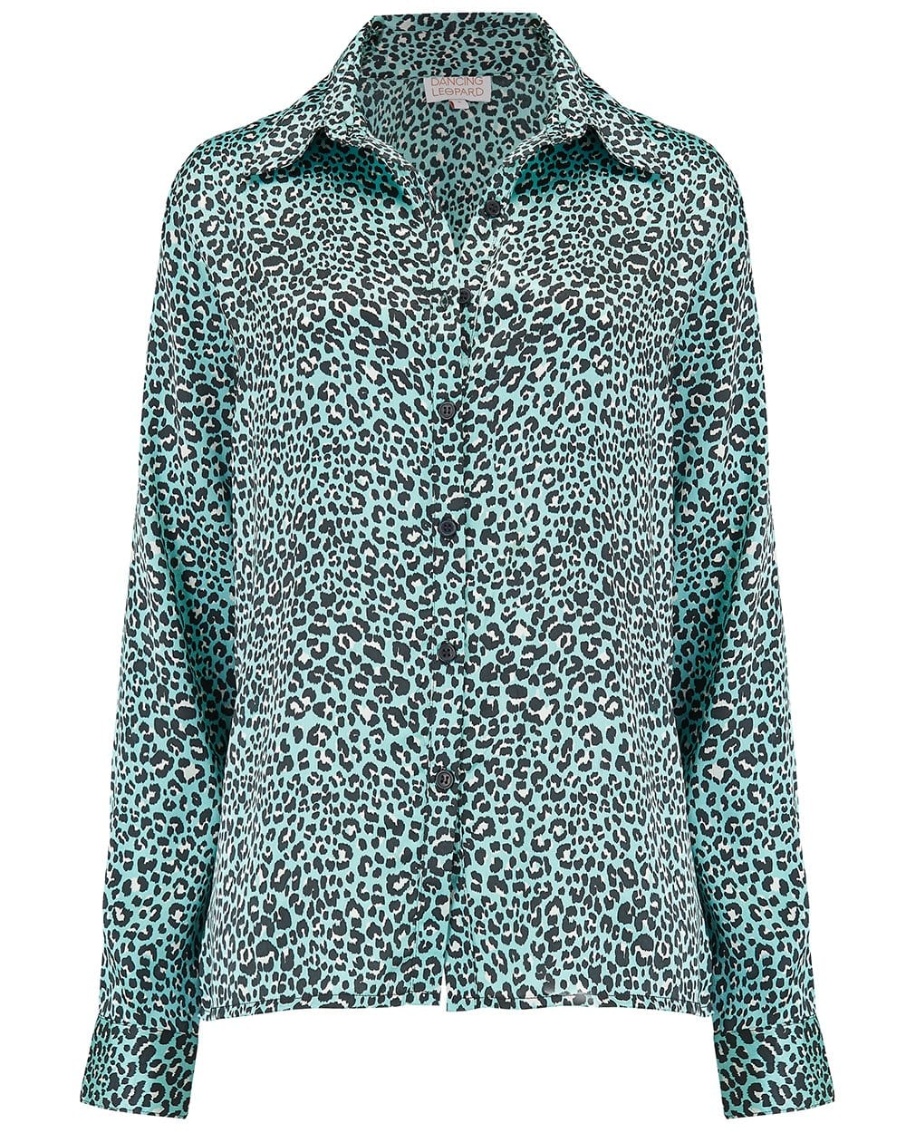 Front view of Dancing Leopard Nevada Shirt in Mint Ditzy Leopard Print on white background