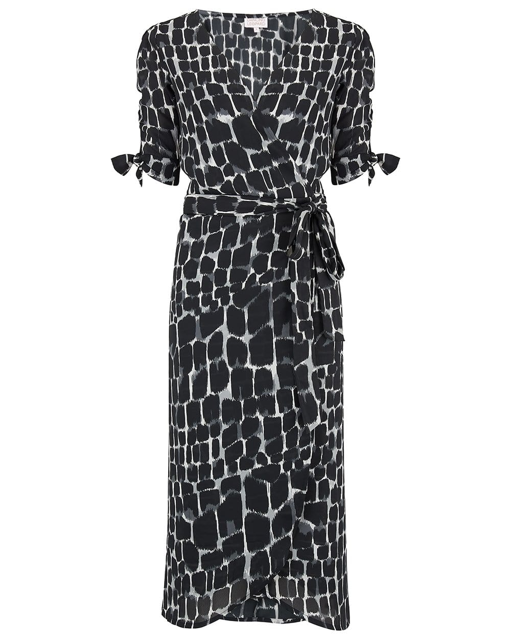 Front view of Olivera Midi Dress in Black & White Alligator Print