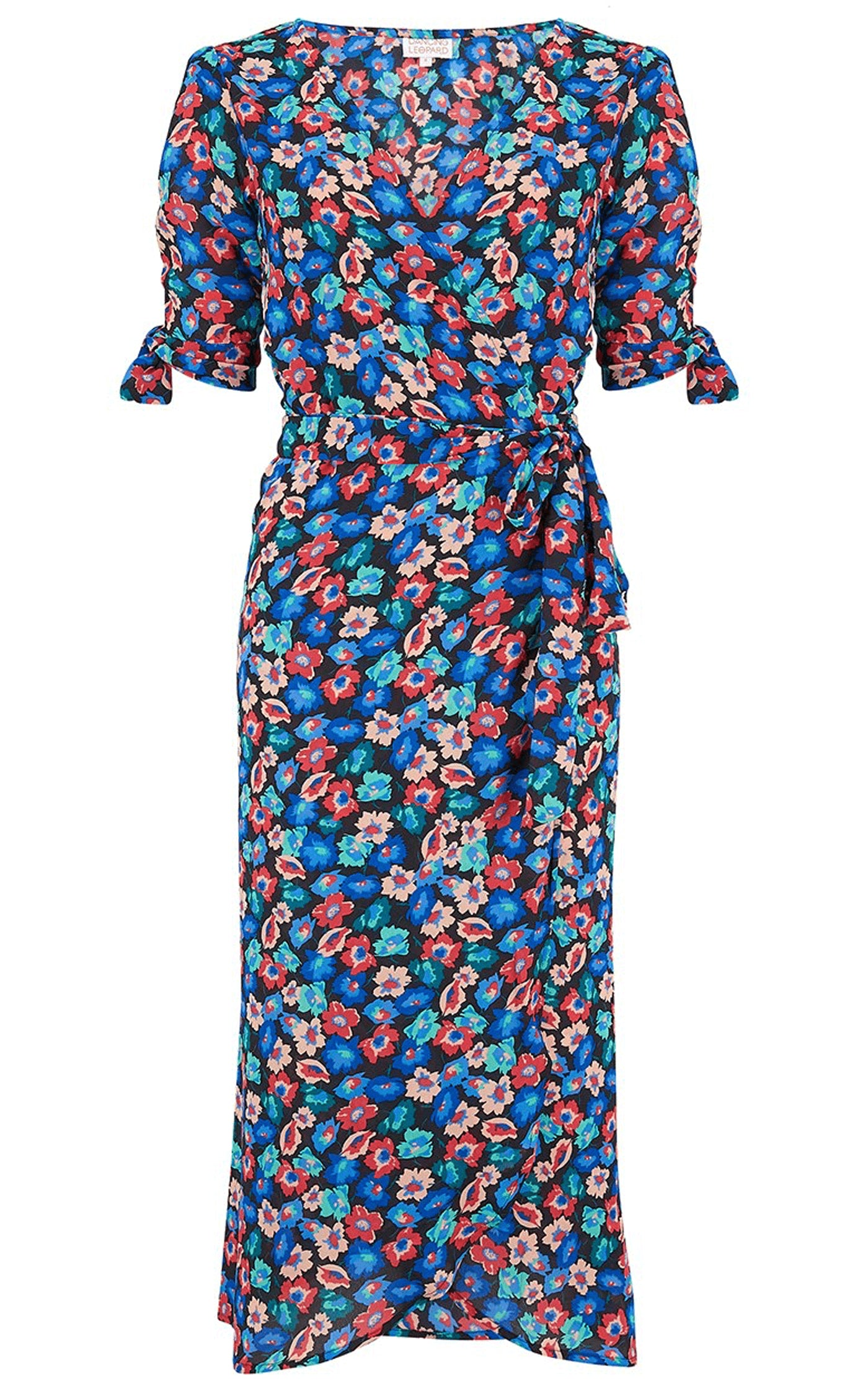 Front view of Dancing Leopard Olivera Midi Dress in Multi Floral on white background
