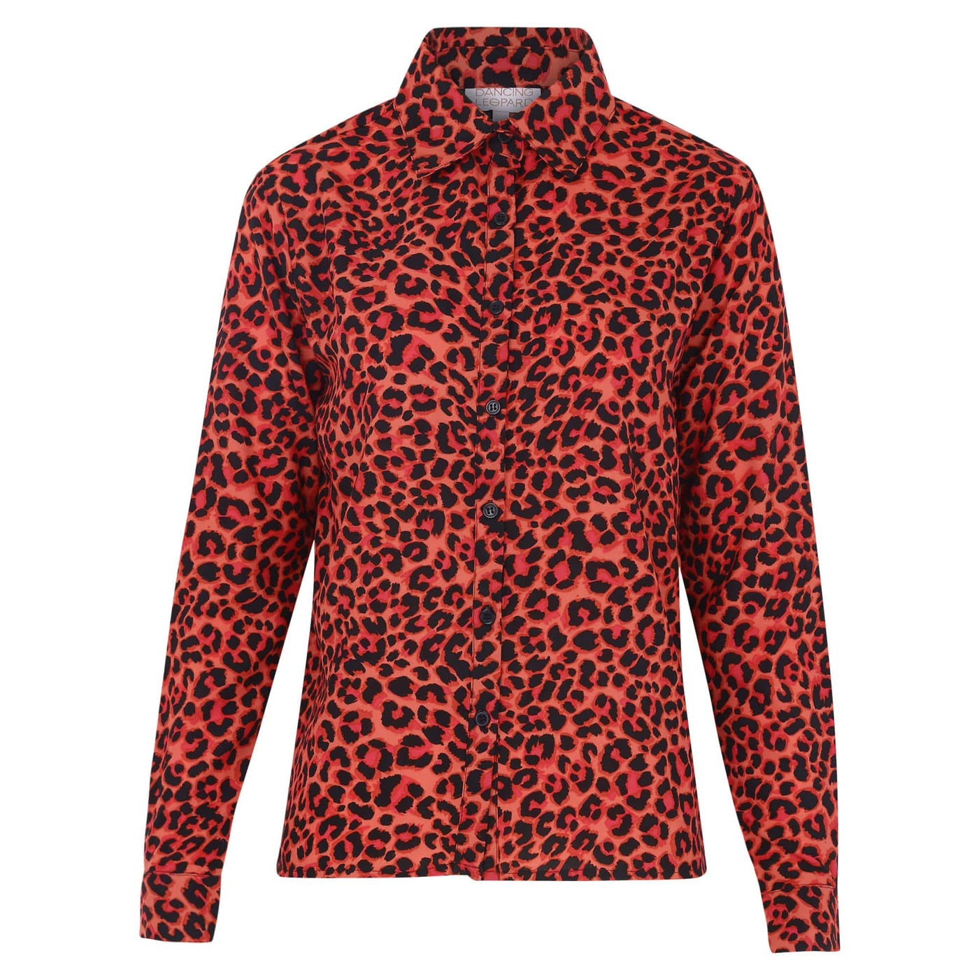 Front view of Dancing Leopard San Diego Shirt in Ruby Red Leopard Print on white background