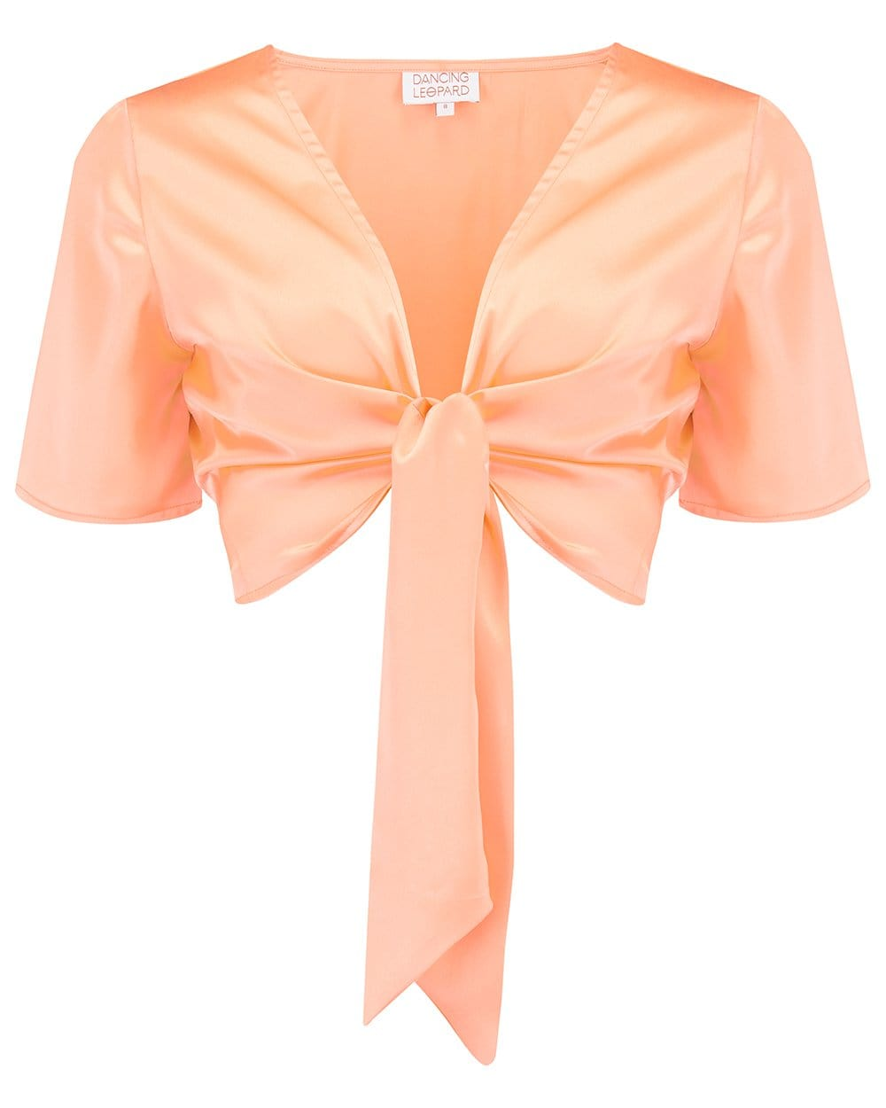 Dancing Leopard Gigi Wrap Top In Peach against plain white background