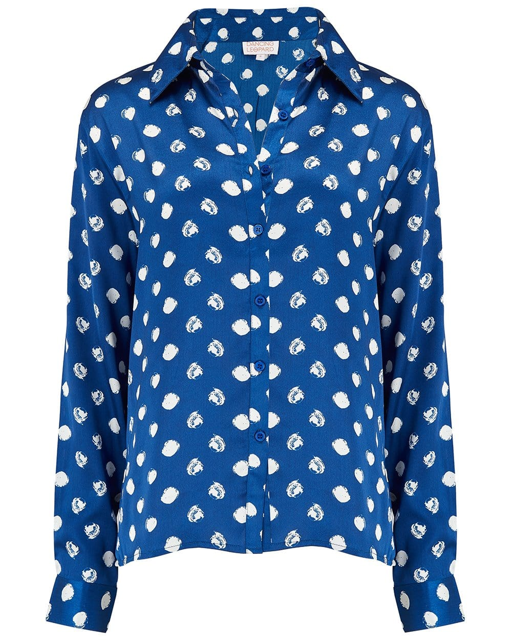Front view of Dancing Leopard Nevada Shirt in Navy Dotty Print on white background