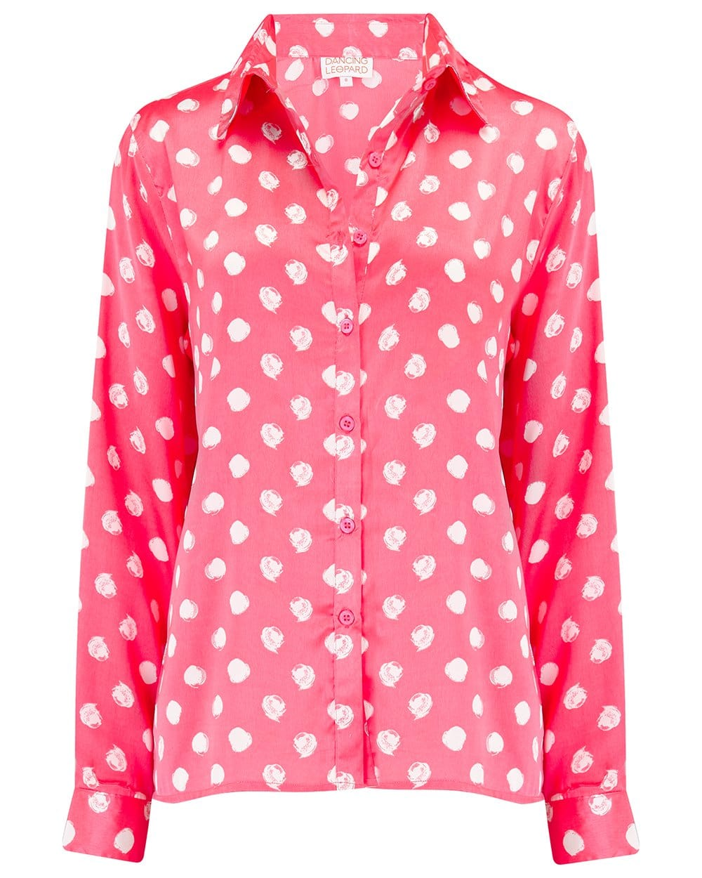 Front view of Nevada Shirt in Red Dotty Print on white background