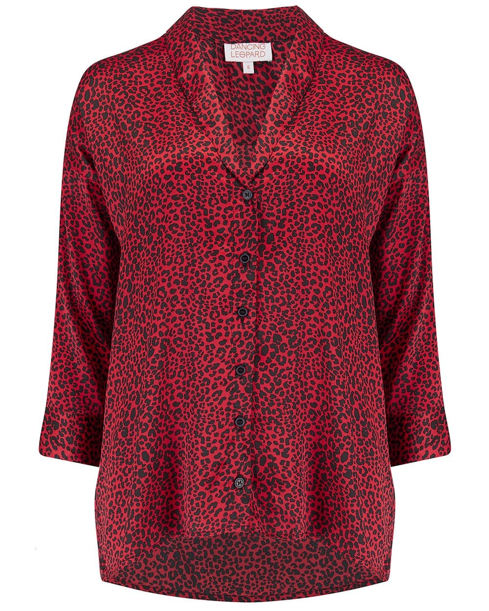 Front view of Dancing Leopard Monte Carlo Shirt in Small Red Leopard Print on white background