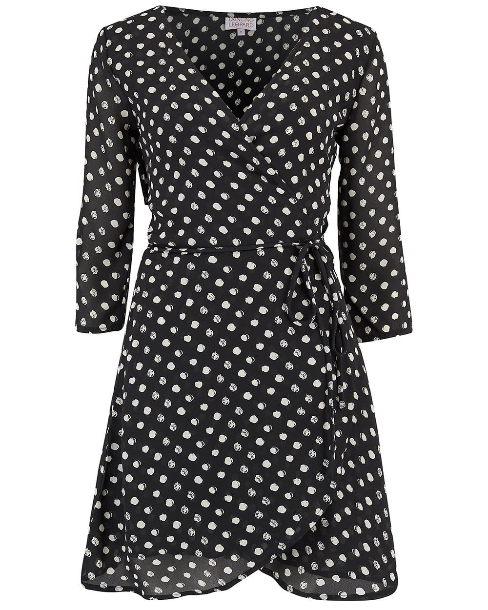 Front view of Dancing Leopard Teagan Mini Dress in Black Dotty Print on white background