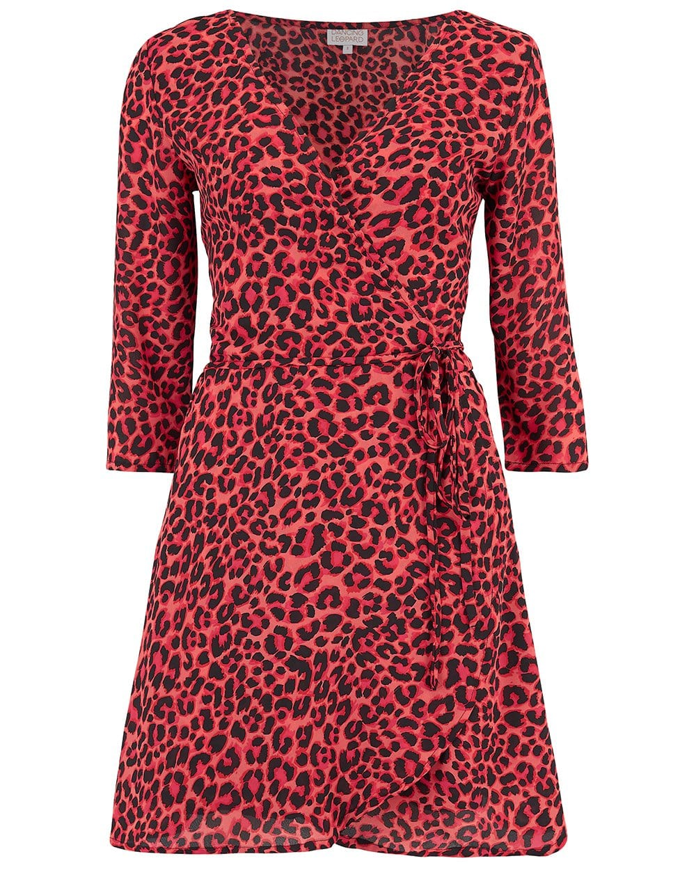Front view of Dancing Leopard Teagan Mini Dress in red leopard print on white background