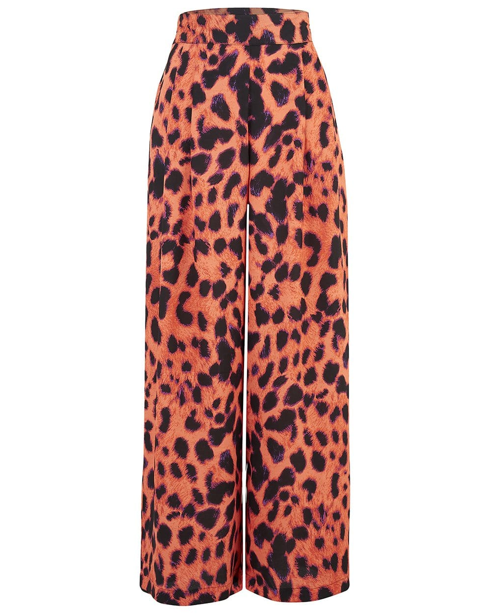 Front view of Dancing Leopard Joey Palazzo Trousers in pink-orange leopard print