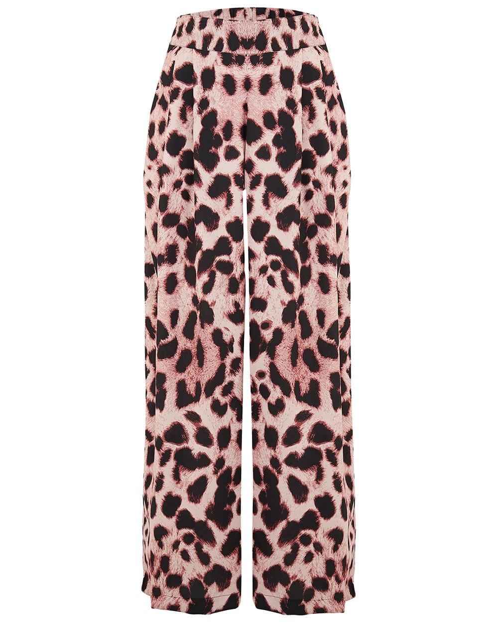 Front view of Dancing Leopard Palazzo Trousers in leopard print