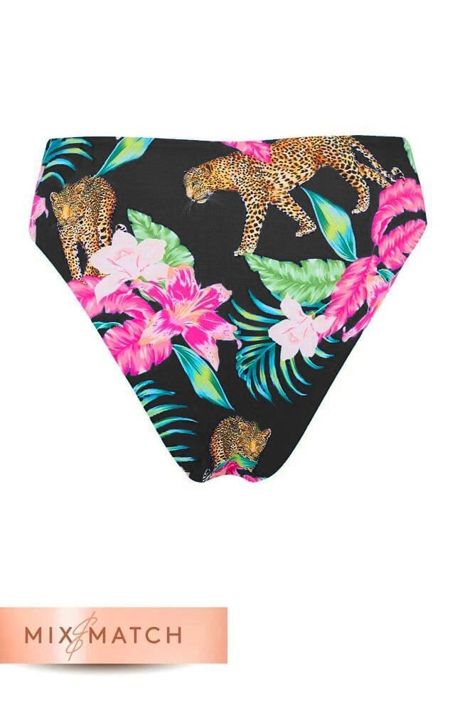 Back of Calypso Bikini Bottoms in Black Tropical Leopard Print on white background