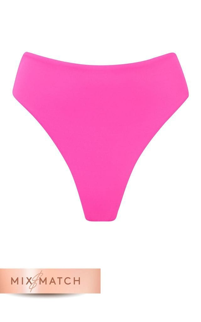 Front view of Calypso Bikini Bottom In Magenta by Dancing Leopard