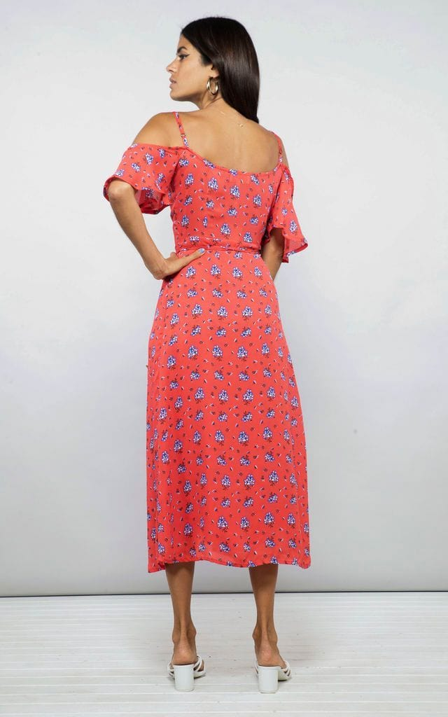 Dancing Leopard model faces backwards and looks over shoulder wearing Ivy Dress in red daisy print