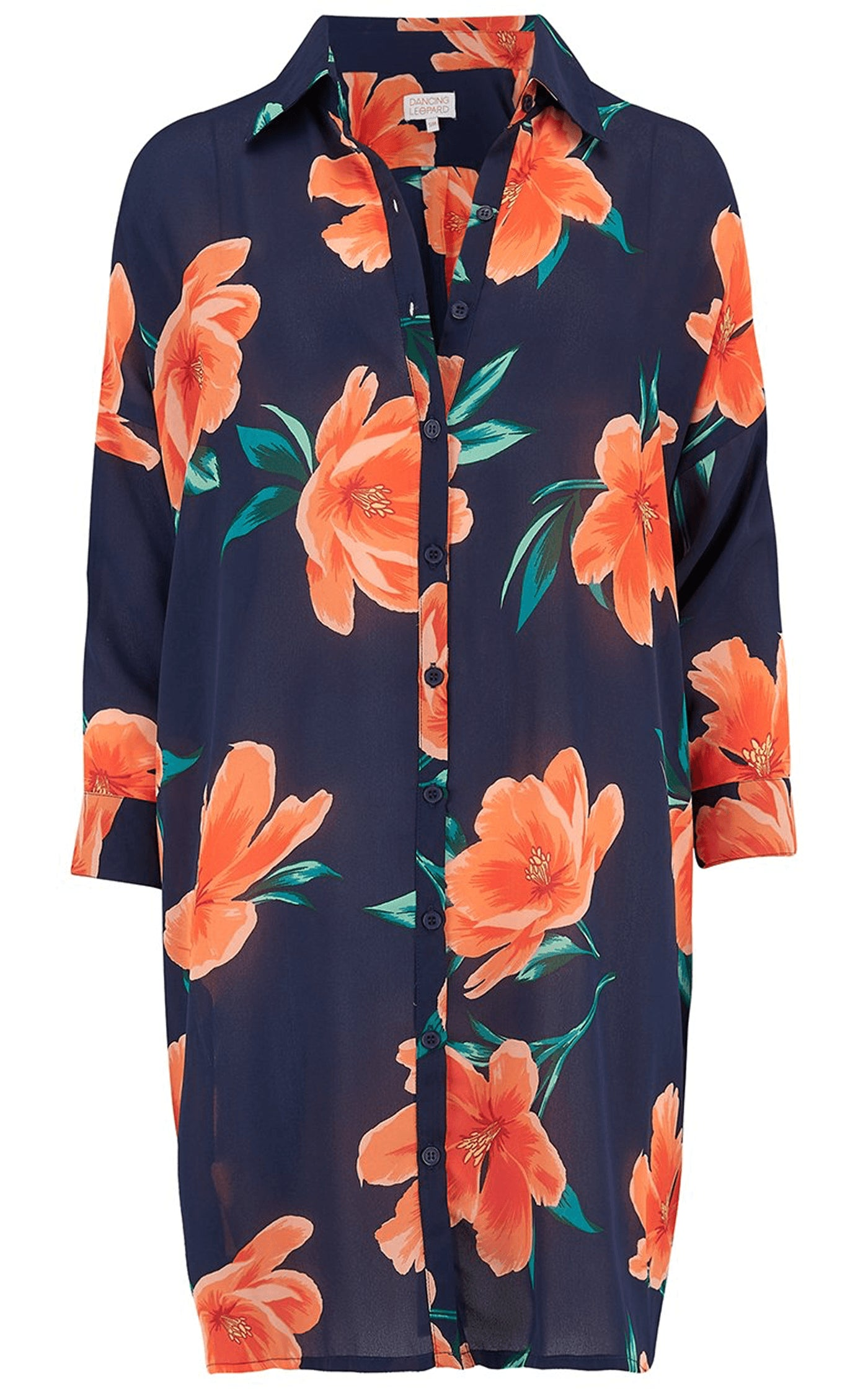 Front view of Jericho Shirt Dress in orange and navy floral tulip print on white background