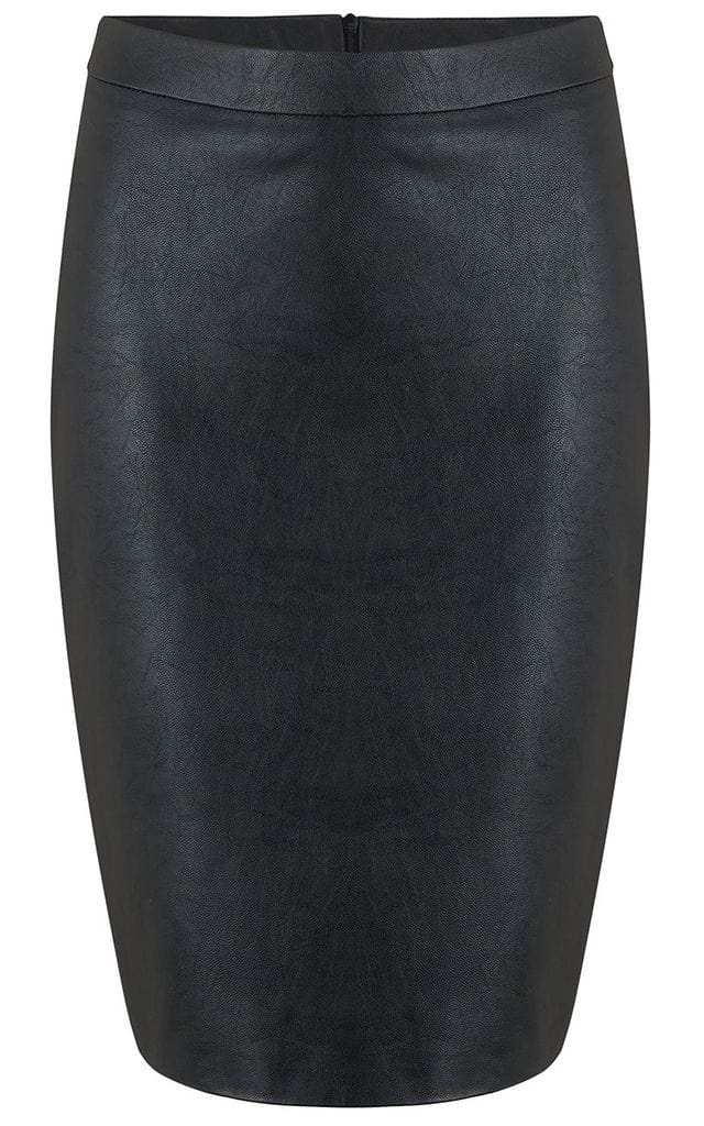 Front view of Madison PU Skirt In Black by Dancing Leopard