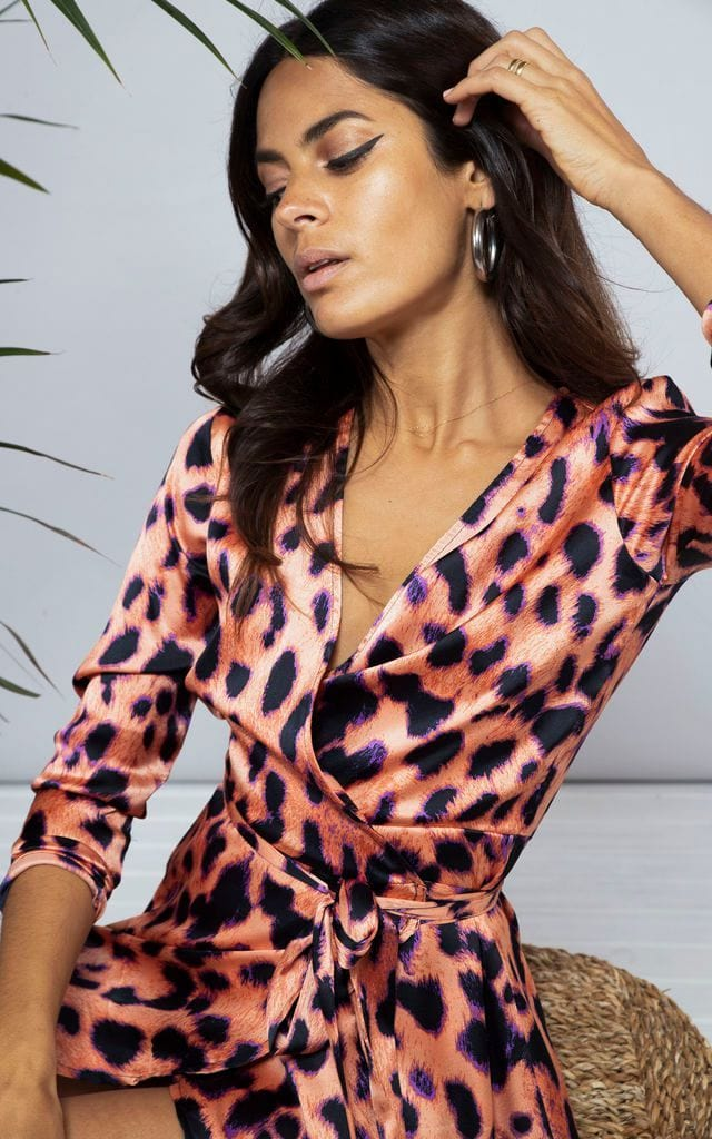 Marley Mini Dress In Plorange Leopard