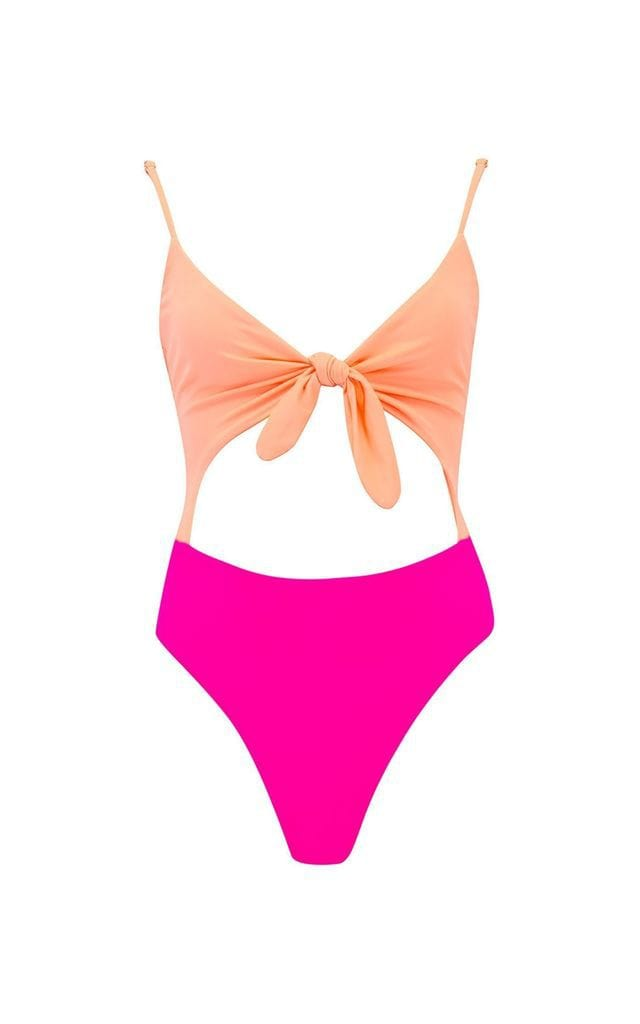 Front view of Dancing Leopard Neptune Swimsuit in Peach & Magenta on white background