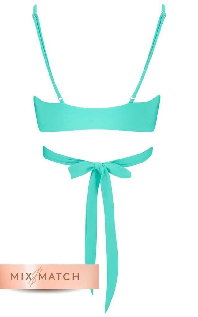 Front view of Dancing Leopard Oyster Bikini Top in aqua on white background