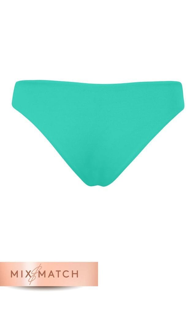 Back view of Dancing Leopard Tallulah Bikini Bottoms in Aqua on white background