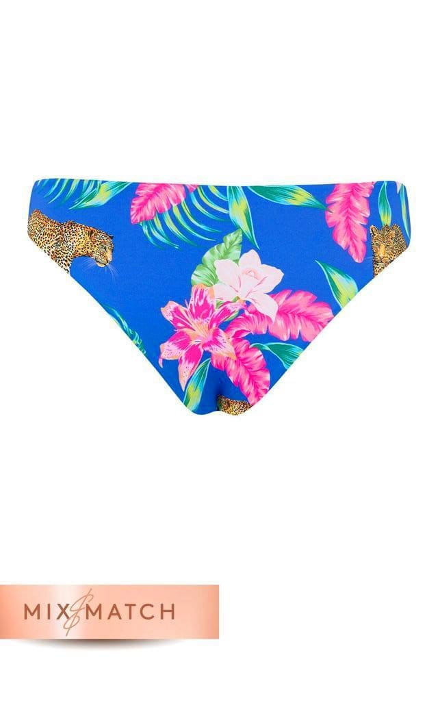 Back view of Dancing Leopard Tallulah Bikini Bottoms in Blue Tropical Leopard Print