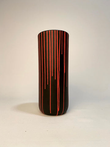 Black Vase with Red Stripes