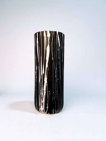 Black Vase with White Stripes