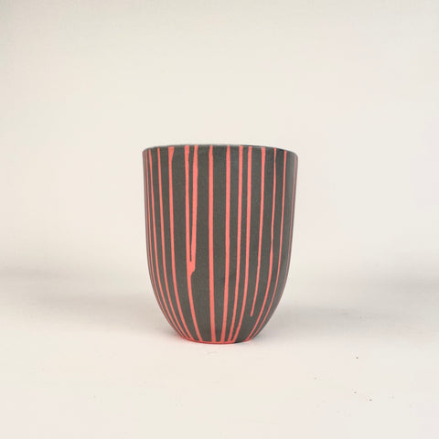 MUG - Pink PIN STRIPES on Dark Grey