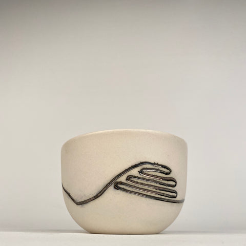 BOWL (or TEA CUP) - Metallic Inlaid Squiggle on White