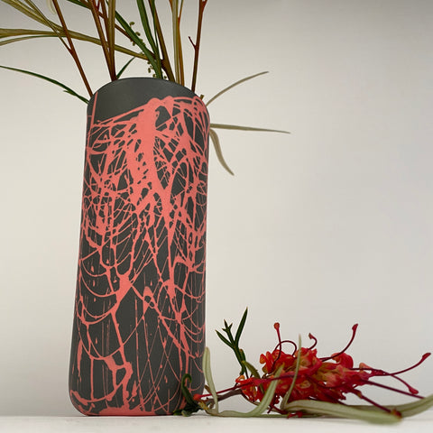 Dark Grey Vase with Pink Squiggles