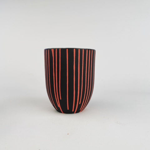 MUG - RED STRIPES on Black